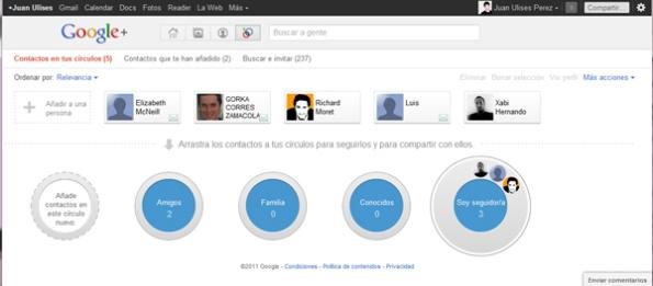 circulos de google+